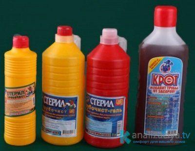 Жидкие средства для прочистки труб
