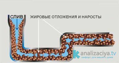 Жир на стенках канализационных труб