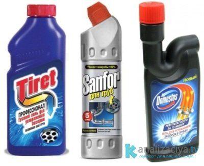 Жидкие средства для чистки труб
