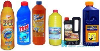 Средства для чистки канализационных труб