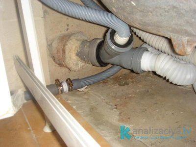 Присоединение канализационной трубы 32 мм к стиральной машине