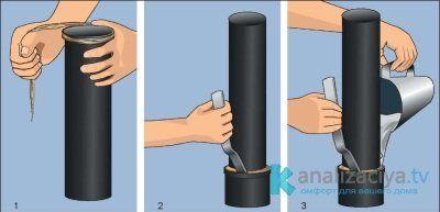 Монтаж чугунной раструбной трубы