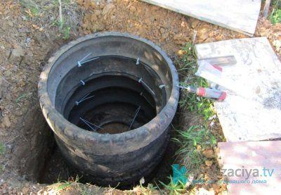 Крепление шин для выгребной ямы