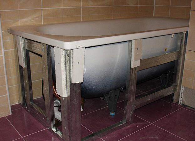 как установить стальную ванну своими руками