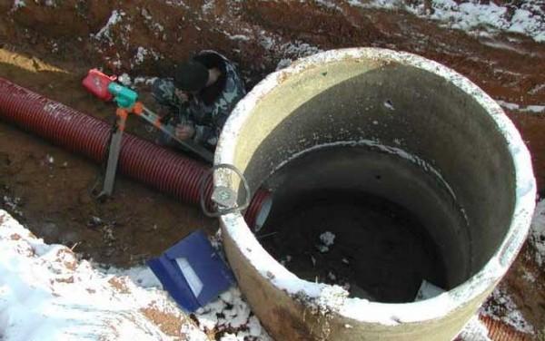 Инспекционный колодец можно соорудить из бетонного кольца
